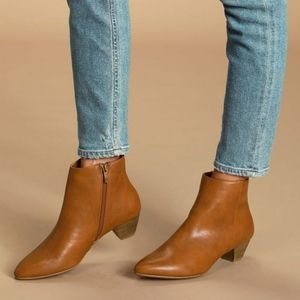 CHINESE LAUNDRY Abrie Cognac Ankle Booties NEW